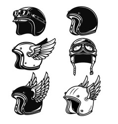 Set of the racer helmets design elements for logo vector
