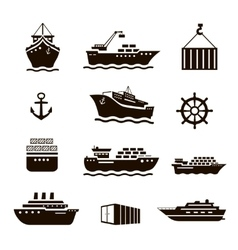 Set of transportation and shipping icons vector image