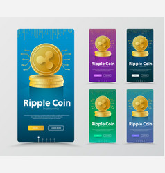 Set of vertical banners with gold coin crypto vector