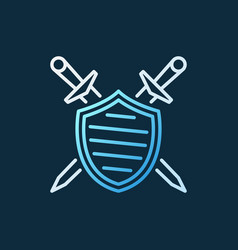 Shield with crossed swords creative outline vector