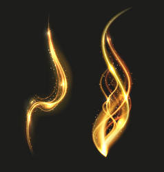 Shiny gold glowing lines swirl trail golden smoke vector