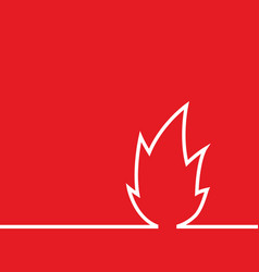 sign flame icon isolated on red background vector image