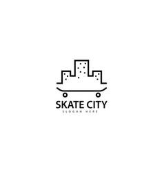 Skateboard city logo design icon vector