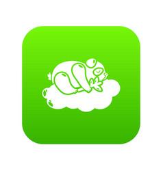 sleeping panda icon green vector image