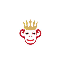 smiling monkey with golden crown on head vector image