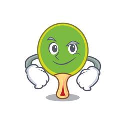 Smirking ping pong racket character cartoon vector