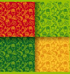 street food seamless patterns vector image