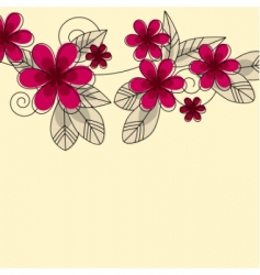 stylized abstract contour flowers vector image