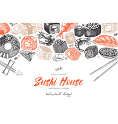 Sushi menu design vector