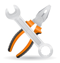 tools spanner and pliers vector image