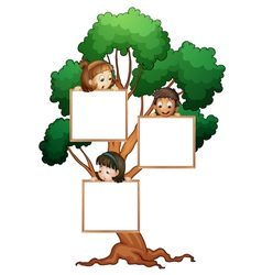 Tree sign with kids vector image