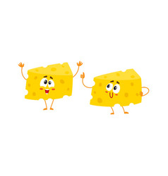 two funny cheese chunk characters showing thumb vector image