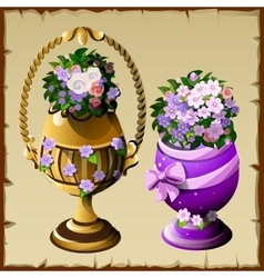 two vases with flowers in different style vector image