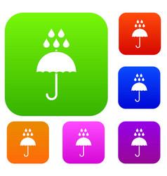umbrella and rain drops set collection vector image
