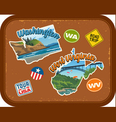 Washington west virginia travel stickers vector