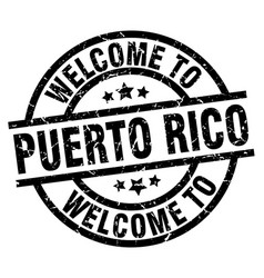 Welcome to puerto rico black stamp vector