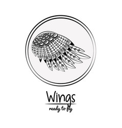 wings draw emblem cartoon vector image