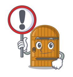 With sign cartoon wooden door massive closed gate vector