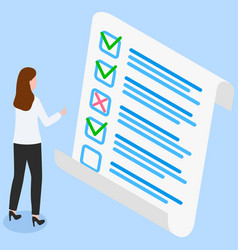 woman studying questionnaire female character vector image