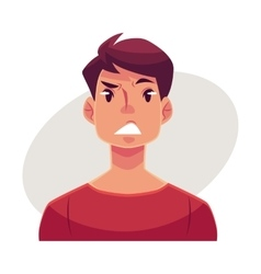 Young man face upset confused facial expression vector
