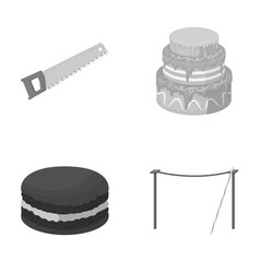 Building cooking and other monochrome icon in vector