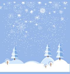 christmas winter flat landscape background vector image