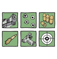 Collection of guns and bullets vector image