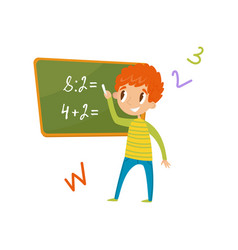 elementary school student standing near the vector image