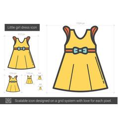 Little girl dress line icon vector