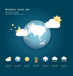 Modern weather icons color Design vector image vector image
