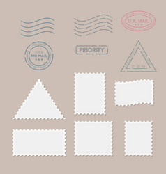 postage stamps for postcard vector image