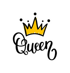 queen crown calligraphy design vector image