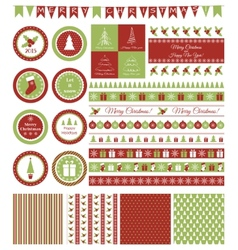 Set of design elements for Christmas party vector image vector image