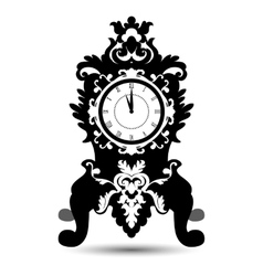 silhouette of vintage watch in baroque style vector image