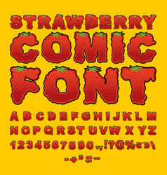 strawberry comic font berry abc red fresh fruit vector image vector image