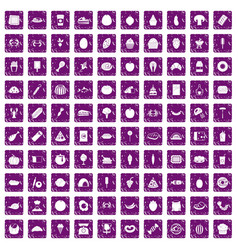 100 favorite food icons set grunge purple vector image vector image