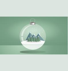 christmas theme with a shiny christmas ball vector image vector image