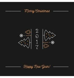 Merry Christmas and Happy New Year Minimalistic vector image