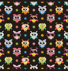 seamless pattern with cute colorfull owls vector image vector image
