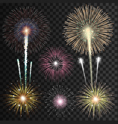 Set of isolated realistic fireworks vector image