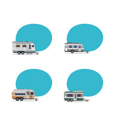 Camping trailers labels isolated on white vector