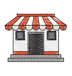 color crayon stripe cartoon facade shop store vector image
