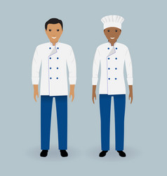 Couple of male and female chefs standing in vector