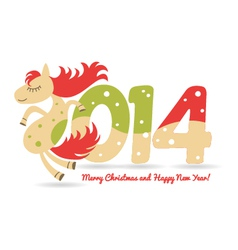 cute horse for Christmas greetings and calendar vector image