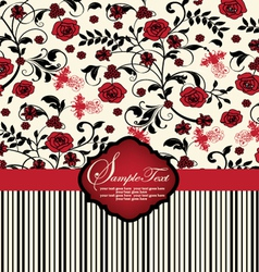 invitation card with red flowers vector image