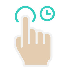 press and hold flat icon touch and hand gestures vector image