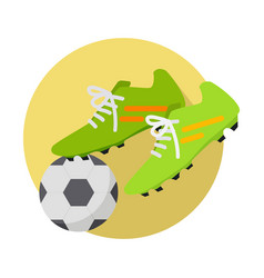 soccer ball with boots flat vector image vector image