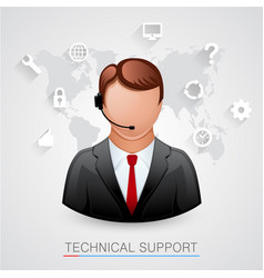 technical support background man with icons vector image vector image
