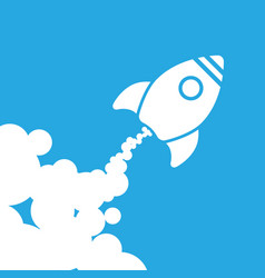 white rocket icon with clouds on a blue background vector image vector image
