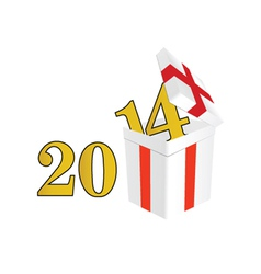 2014 year with a package and surprises vector image vector image